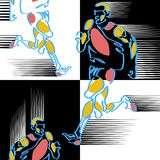 Pattern of hand-drawn silized figures of athletes vector illustration