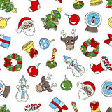 Pattern with hand drawn symbols of Happy New Year Royalty Free Stock Photography