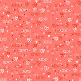 Pattern with hand painted hearts Stock Image