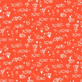 Pattern with hand painted hearts Stock Images
