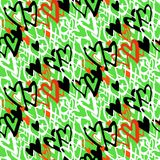 Pattern with hand painted hearts Royalty Free Stock Photo
