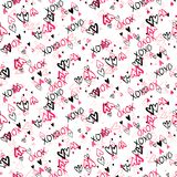Pattern with hand painted hearts Stock Photography