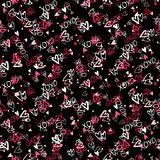 Pattern with hand painted hearts Royalty Free Stock Photography