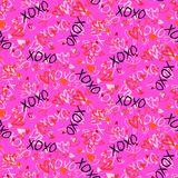 Pattern with hand painted hearts Royalty Free Stock Image