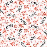 Pattern with hand painted hearts Vector Illustration