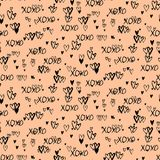Pattern with hand painted hearts Stock Photo