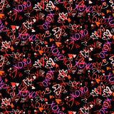 Pattern with hand painted hearts Stock Photos