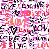Pattern with hand painted words love Stock Photography