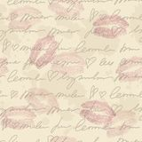 Pattern with hand writing elements. Seamless pattern with hand writing elements, lips traces and old paper royalty free illustration