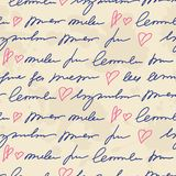 Pattern with hand writing elements Stock Images