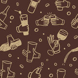 Pattern with  hands holding drinks and bottles Royalty Free Stock Images