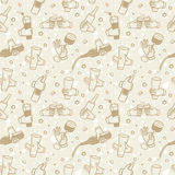 Pattern with  hands holding drinks and bottles Royalty Free Stock Photo
