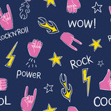 Pattern with hands showing rock and roll signs Royalty Free Stock Photography