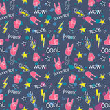 Pattern with hands showing rock and roll signs Royalty Free Stock Image