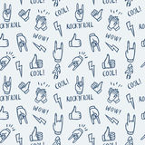 Pattern with hands showing rock and roll signs Royalty Free Stock Photo