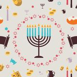 Pattern with Hanukkah symbols. Greeting card Stock Images