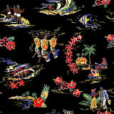 Pattern of Hawaiian shirt, Royalty Free Stock Photo