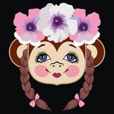 Pattern head monkey. Chinese zodiac: 2016 year monkey. Winter Christmas design. Can be used for postcards, books, wallpaper, gift, t-shirt, poster, scrapbook stock illustration