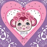 Pattern head monkey, frame shabby chic heart. Chinese zodiac: 2016 year monkey. Winter Christmas design. Can be used for postcards, books, wallpaper, gift, t Royalty Free Stock Photo