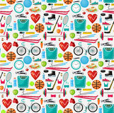 Pattern of a healthy lifestyle. Vector illustration Stock Photo