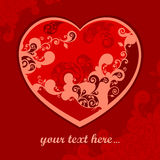 Pattern heart on red & text Royalty Free Stock Photo