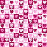 Pattern hearts. A square background with hearts pattern in pink and vinous colours Stock Images