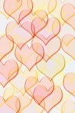 Pattern with hearts. Hearts in red and yellow pastel colourson white background Royalty Free Stock Image