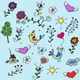 Pattern with hearts, birds and flowers for fabrick Stock Image