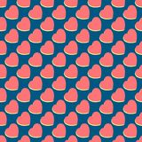 Pattern with hearts on blue background. Happy Valentine`s Day gift card Royalty Free Stock Photo