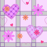 Pattern with hearts and checked pattern Royalty Free Stock Photos