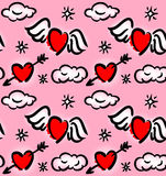 Pattern with hearts and clouds Stock Photos