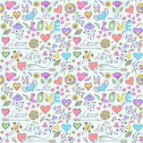 Pattern with hearts,flowers and other elements Royalty Free Stock Photos