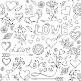 Pattern with hearts,flowers and other elements. Vector illustration of colorful seamless pattern with hearts,flowers and other elements Stock Photography