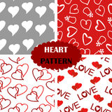 Pattern with hearts. Four seamless pattern with hearts Stock Images