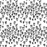 Pattern of hearts hand drawn vector sketch. Seamless heart art background hand drawn by marker or felt-tip pen drawing Royalty Free Stock Photography
