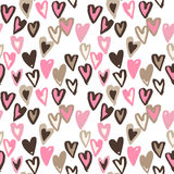 Pattern of hearts hand drawn vector sketch. Seamless heart art background hand drawn by marker or felt-tip pen drawing Royalty Free Stock Photos
