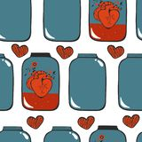 Pattern with hearts in jar Royalty Free Stock Image