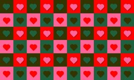 Pattern hearts love happy valentine colors red green Royalty Free Stock Image