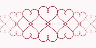 Pattern hearts One Continuous line drawing of red hearts on white background, elegant red vignette, the pattern of the lace header. Pattern of hearts for Stock Photography