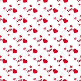 Pattern hearts with phrase love background in flat style. Stock Photos