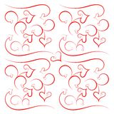 Pattern from hearts and scrolls Stock Photography