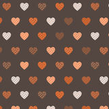 Pattern of hearts. Hearts seamless pattern of polka dots on a brown background Stock Image
