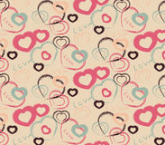 Pattern with hearts. Seamless pattern for Valentine's day in a drawing style Stock Images