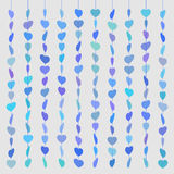 Pattern hearts skewered like beads on line blue on gray Stock Image