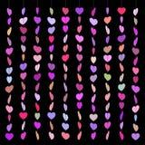 Pattern hearts skewered like beads on line fullcolor on black Stock Photo