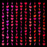Pattern hearts skewered like beads on line red on black Royalty Free Stock Photos