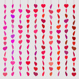 Pattern hearts skewered like beads on line red on gray Stock Image