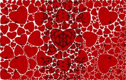 Pattern of hearts on a white background. Black ornament on the picture. Stock Photos