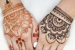 Pattern henna woman`s hands Royalty Free Stock Image