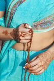 Pattern henna woman`s hands Stock Images